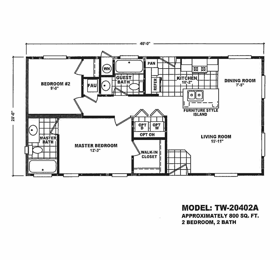 2 Section Tiny Homes Tw 20402a Wholesale Manufactured Homes
